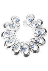 BODYA Blue Cz Gems Crystal Sunflower Nipple Shield Rings Non-piercing Clip on Circle Nipple Ring Tribal Floral