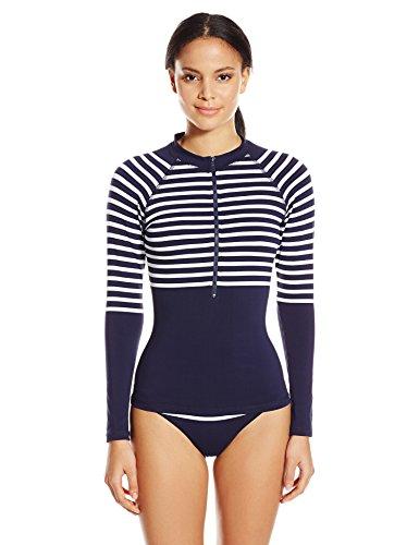 Shoshanna Women's Striped Jersey Zip Front Rash Guard, Navy/White, Small