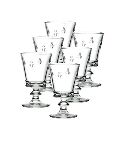 La Rochere Set Of 6, 9-ounce Napoleon Bee  Wine Glasses (French Bee Glasses)