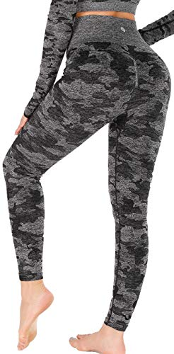 RUNNING GIRL Camo Leggings Gym Scrunch Butt Seamless High Waisted Tummy Control Stretch Workout Yoga Pants for Women(CK2365.Black.L)
