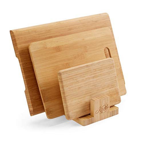 - Cutting Board Organizer Natural Bamboo Kitchen Pantry Rack Cabinet Organizer for Cutting Board, Dish, Bakeware, Plate, Pot Lid, Cook Books, BookStand Holder by: Kozy Kitchen