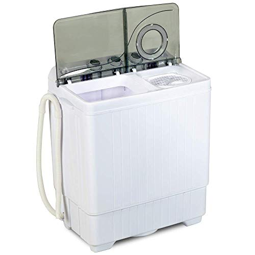 Topvendor 26Lbs Portable Compact Mini Twin Tub Washing Machine with Built-in Drain Pump,Semi-Automatic,Washer(18lbs)&Spiner(8lbs) (White&Gray)