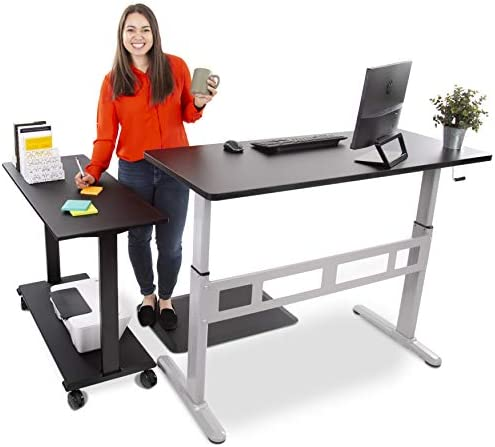 Stand Steady L-Shaped Tranzendesk Standing Desk Sit to Stand Desk