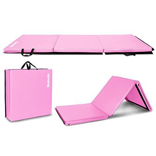 "Matladin 6′ Folding Tri-fold Gymnastics Gym Exercise Aerobics Mat, 6'x 2'x 2"" PU Leather Tumbling Mats for Stretching Yoga Cheerleading Martial Arts (Pink 6'x 2'x 2"") Review"