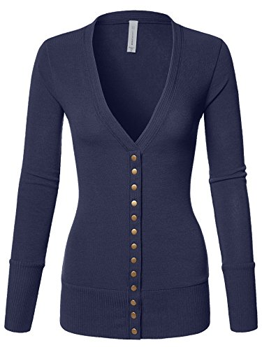 Blue Knit Cardigan Sweater - Mixed Knit V-Neck Brass Snap Button Sweater Cardigans Navy Small