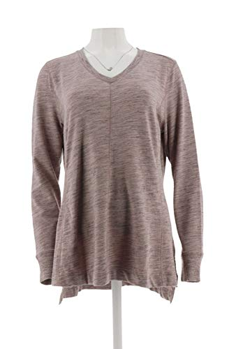 H Halston Space Dye French Terry V-Neck Pullover Light Mauve M # A298842 from H by Halston