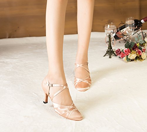 Beige Ribbon Wrap Latin Knot Dance Satin Women's Minishion Ankle Shoes az1wc