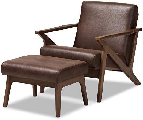 Baxton Studio Bianca Mid-Century Modern Walnut Wood Dark Brown Distressed Faux Leather Lounge Chair and Ottoman Set Mid-Century/Dark Brown/Walnut Brown/Faux Leather/Rubber Wood/