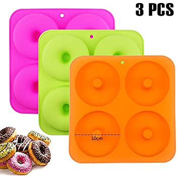 BAKHUK 3pcs 4Inches Donut Baking Pan Full Size Non Stick Silicone Molds Donut Trays Donut Pans, 3 Colors