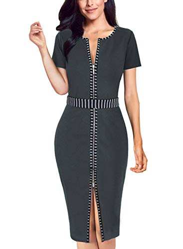 VFSHOW Womens Grey Elegant Contrast Zipper Front Work Business Office Party Bodycon Pencil Sheath Dress 3317 Gry L