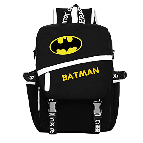 YOURNELO Leisure Batman High Capacity Rucksack School Backpack Bookbag (B Black)]()