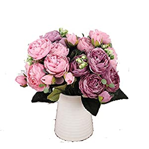 Luccaful 30cm Rose Pink Silk Peony Artificial Flowers Bouquet 5 Big Head and 4 Bud Fake Flowers for Home Wedding Decoration Indoor 85