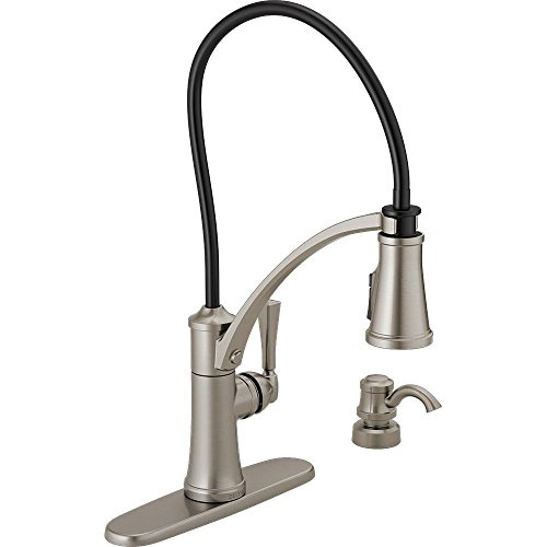 Delta Foundry Single-Handle Pull-Down Sprayer Kitchen Faucet with Shield Spray and Soap Dispenser in Spot Shield Stainless
