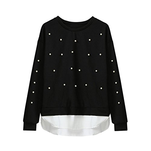 Hip Stitched Pleated Skirt (ABASSKY Ladies Black Long Sleeve Patchwork Dot Sweatshirt Blouse Top Coat (L))
