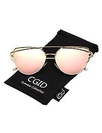 CGID Women's Modern Fashion Mirror Polarized Cat Eye Sunglasses Oversized Goggles UV400,Gold Pink