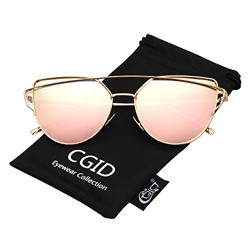 CGID Women's Modern Fashion Mirror Polarized Cat Eye Sunglasses Goggles UV400,Gold - Sunglasses Modern
