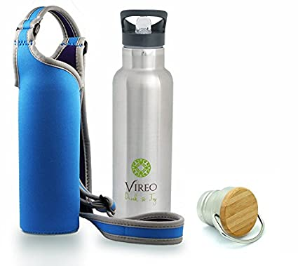 Botella de agua de acero inoxidable con tapón de bambú, diseñ