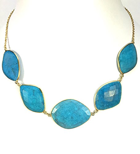 Contemporary Turquoise Bead Choker Necklace Sterling Silver Gold Vermeil (Lightweight Turquoise Necklace)