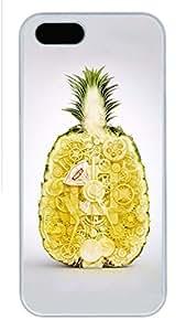 iPhone 5S Case, Unique Design Protective iPhone 5 5S PC Hard White Edge - Pineapple Case Cover