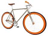 Vilano Rampage Fixed Gear Fixie Single Speed Road Bike, Champagne/Orange, Large/58cm