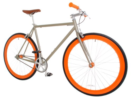 Vilano Rampage Fixed Gear Fixie Single Speed Road Bike, Champagne/Orange,...