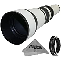 Super 650-1300mm f/8-16 HD Telephoto Zoom Lens for Canon EOS 70D, 60D, 60Da, 50D, 40D, 30D, 1Ds, Mark III II, 7D, 6D, 5D, 5DS, Rebel T6s, T6i, T5i, T5, T4i, T3i, T3, T2i, SL1 Digital SLR Cameras