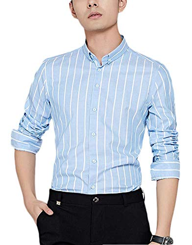 - Plaid&Plain Men's Oxford Button Down Shirts Pinstripe Shirt Slim Fit Dress Shirts Light Blue M