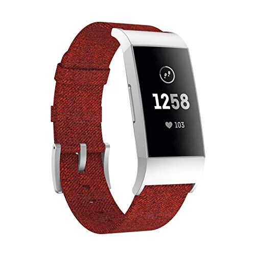 Yayuu Compatible Charge 3 Bands Woven Canvas,Charcoal Woven Canvas Adjustable Sport Watch Strap for Charge 3 /Charge 3 SE Replacement Fitness Smart Wristbands Women Men(No Tracker) ()