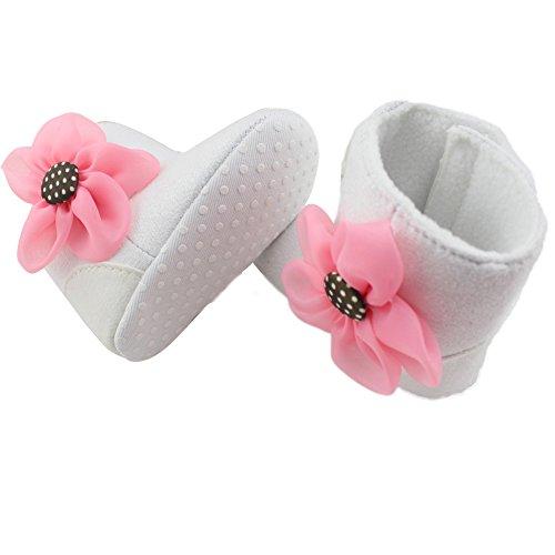 Pretty Niñas Cálido dei Bottini suaves solo flor Snow Boots patines la greppia Prewalker 0-6 mesi Rosa blanco