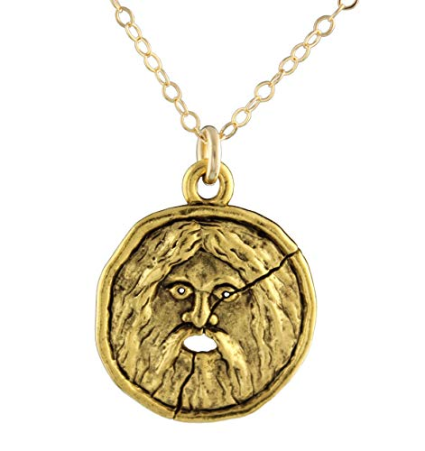 Night Owl Jewelry Mouth of Truth Gold Necklace- Plated Pewter Bocca Della Verita Charm,14k Gold-Fill Chain- Ancient Roman (18