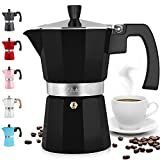 Zulay Classic Stovetop Espresso Maker for Great Flavored Strong Espresso, Classic Italian Style 3 Espresso Cup Moka Pot, Makes Delicious Coffee, Easy to Operate & Quick Cleanup Pot (Black)