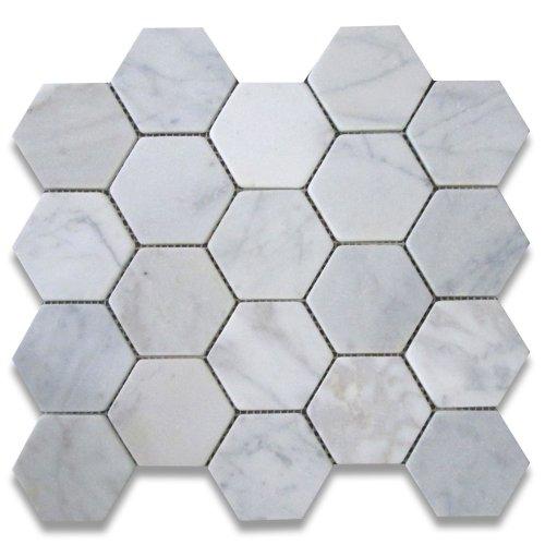 Carrara White Italian Carrera Marble Hexagon Mosaic Tile 3 inch Tumbled Non Skid Shower Floor Tile