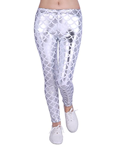 Girl's Shiny Mermaid Leggings Metallic Fish Scale Tights Mermaid Costume (4T-12) (Silver 7/8)