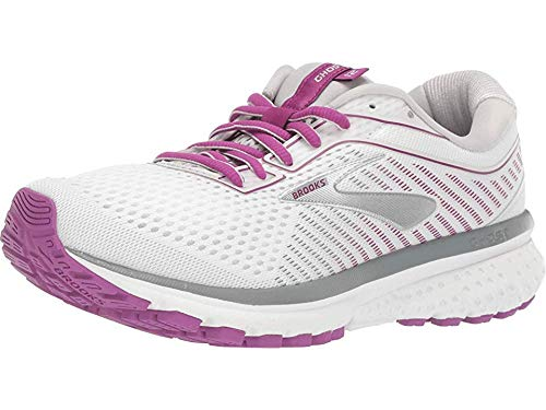 Brooks Women's Ghost 12 White/Grey/Hollyhock 12 Wide US by Brooks