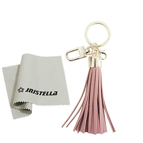(Genuine Leather Cowhide Tassel Bag Charm Keychain Key Ring (Indi Pink-thin))