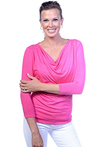Body Bark Women's Droop Neck 3/4 Sleeve Medium Fuchsia Purple/Pink by Body Bark