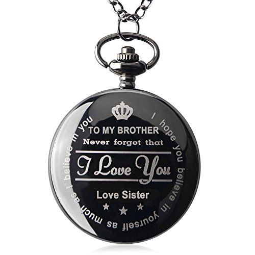 Brother Gifts for Birthday or Anniversaries Graduation Novelty Gift to Big Brother from Brother or Sister Engraved Pocket Watch with Gift Box for Men (Love Sister Black) by Samuel