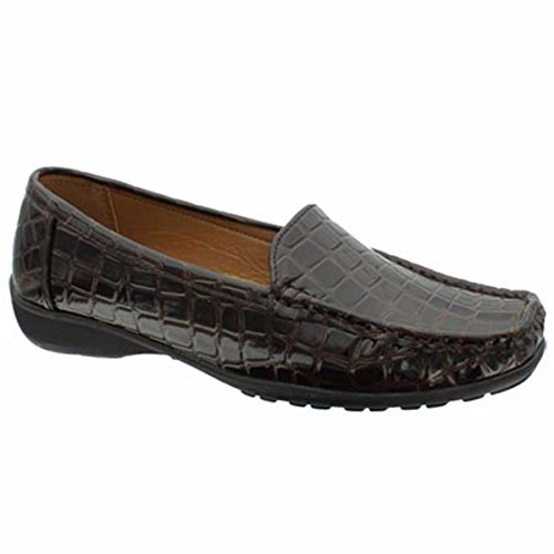 (Pierre Dumas Hazel-7 Women's Casual Flexsole Slip On Loafer,Brown Croc,7.5)