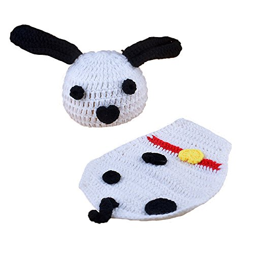 Elee Baby Crochet Knit Dalmatian Costume Set Photo Prop Hat Cloak (Dalmatian Halloween Costume For Baby)