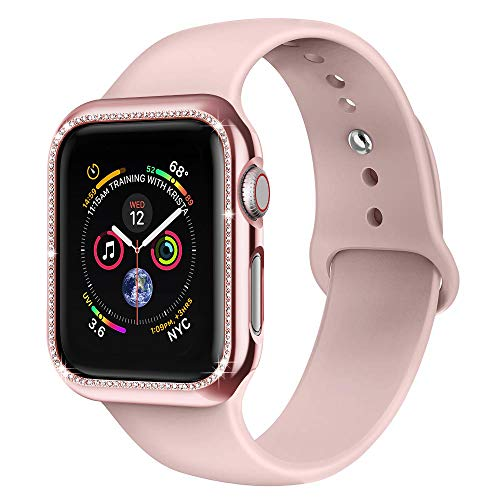 AdMaster Compatible for Apple Watch Band with Screen Protector, Bling Crystal Diamonds Protective Case Sport with Soft Silicone Strap for iwatch Series 4 3 2 1 Pink Sand 38mm/40mm S/M