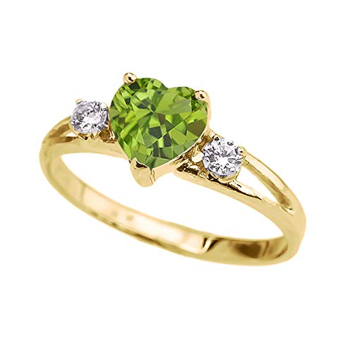 Precious 10k Yellow Gold Heart-Shaped Personalized August Birthstone CZ Proposal/Promoise Ring (Size 4)