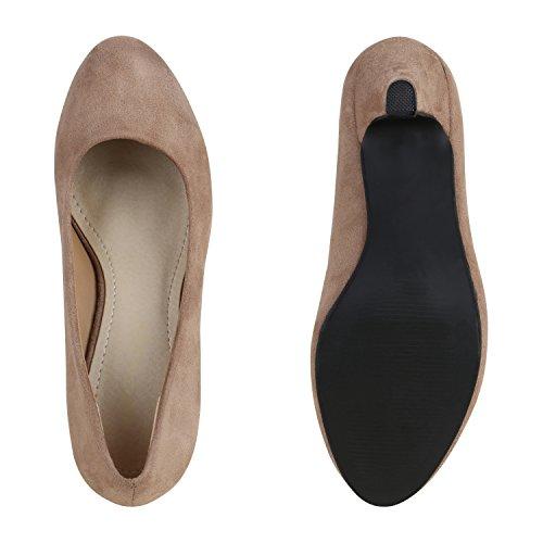 Stiefelparadies Klassische Pumps Lack Stiletto Absatz Abendschuhe Velours Business Schuhe Flandell Khaki Velours