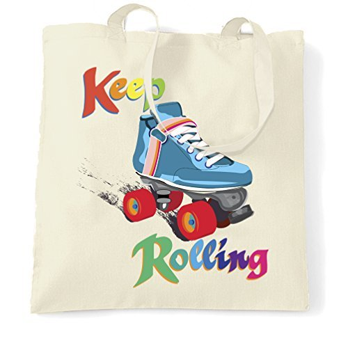 (Canvas Tote Bag Keep On Rolling Derby Girls Roller Skate Jammer Vintage Retro Blocker Pivot Skating Skater Rainbow Colourful Reusable Ecofriendly Shopping Bag Washable Tote Bags for Women)