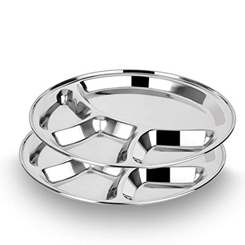Stainless Steel Set Of 2 Round Plates Dish 4 compartment Thali for Dinner Or Breakfast Plates, Tableware Decorative Set For Lunch Or Multi Purpose use Size 12.5 X 12.5 ()