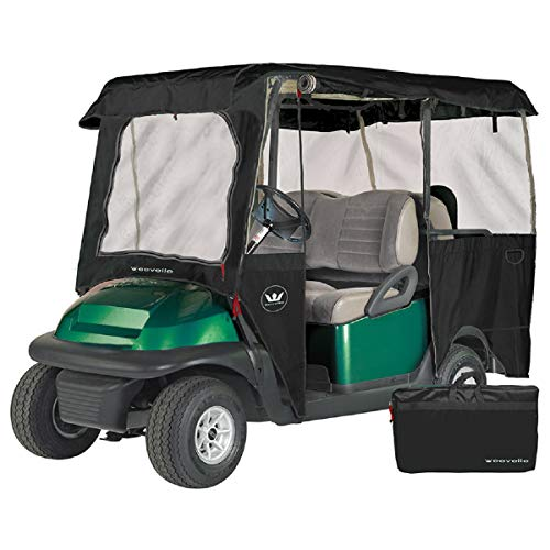 Greenline Drivable Golf Cart Enclosures by Eevelle, Heavy Duty 300D 4 Passenger Universal Fit, Black