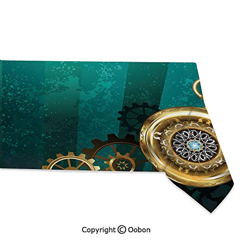 oobon Space Decorations Tablecloth, Antique Items Watches Keys and Chains with Steampunk Influences Illustration Decorative, Rectangular Table Cover for Dining Room Kitchen, W60xL120 inch -