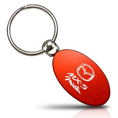 Red Aluminum Metal Oval Mazda Miata MX5 Logo Key Chain Fob Chrome Ring