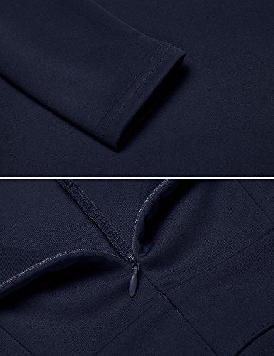 Angvns Manches Longues Bleu Marine Élégante De Robe Moulante D'affaires Des Femmes Bleu