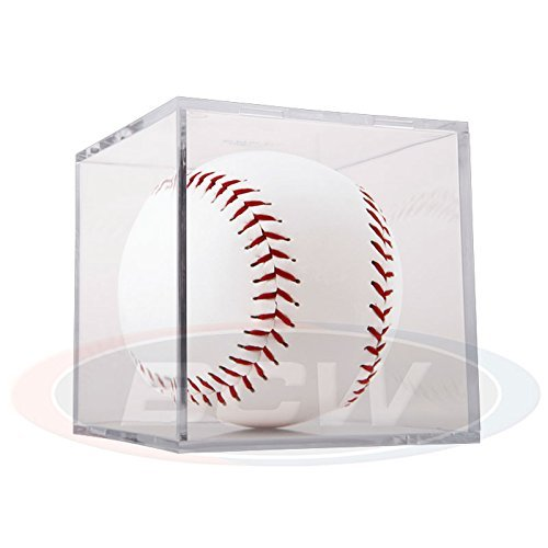 (1) BallQube Softball Display Case Clear Stackable Square Cube Holder by BallQube - Ballqube Softball Holder