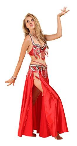 GUILTY BEAUTY Belly Dance Costume,Halter Bra Strap Belt Skirt 3pcs set,11 Colors